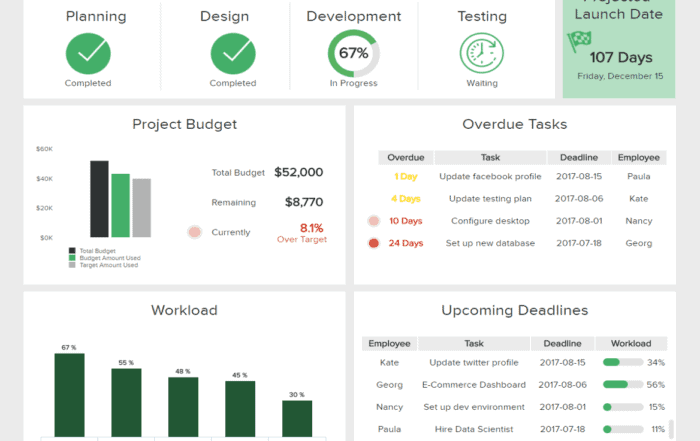 it project management dashboard 700x441 - Введение в основные концепции бизнес-аналитики
