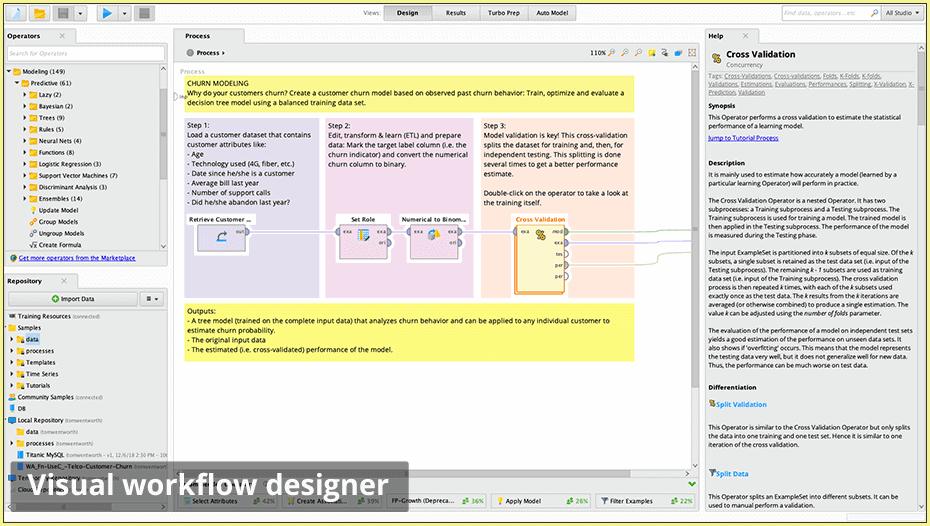 visual workflow designer 960 - RapidMiner дизайнер аналитических процессов