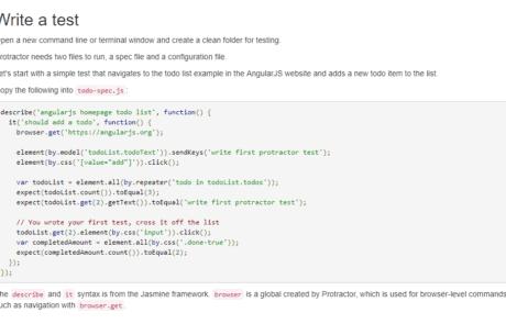 interface protractor 460x295 - Экосистема JavaScript: 38 инструментов для фронтальной и серверной разработки